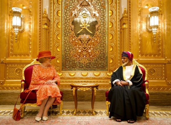 The Sultan of Oman with Queen Beatrix of the Netherlands in Oman.
