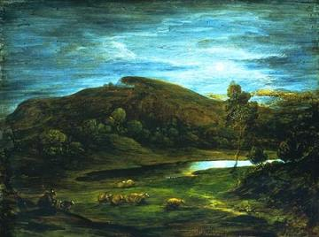 "Thomas Gainsborough. ""Open Landscape with Shepherd, Sheep and Pool."" The Victoria and Albert Museum"