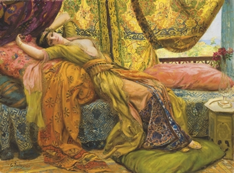 """Reclining Beauty"" by Georges Antoine Rochegross. Source: Christie's."