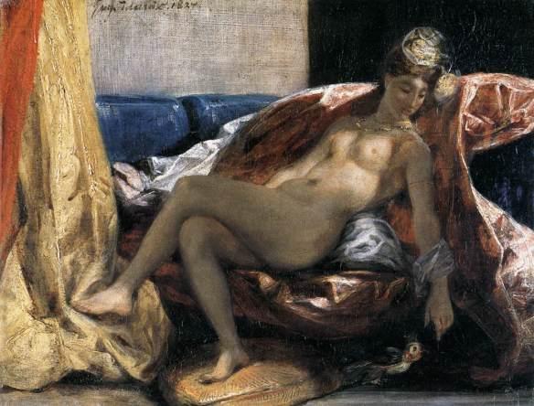 """""""Woman with a parrot"""" by Eugène Delacroix. Musée des Beaux-Arts, Lyons. Source: Lib-Art.com"""