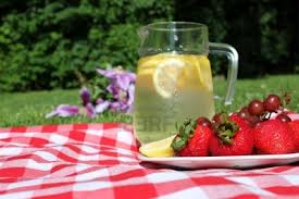 Picnic outdoor strawberries