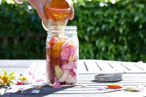 Rose Petal Honey. Source: Gardenista.com. (Click on photo for the website which has a DIY recipe for rose-infused honey.)