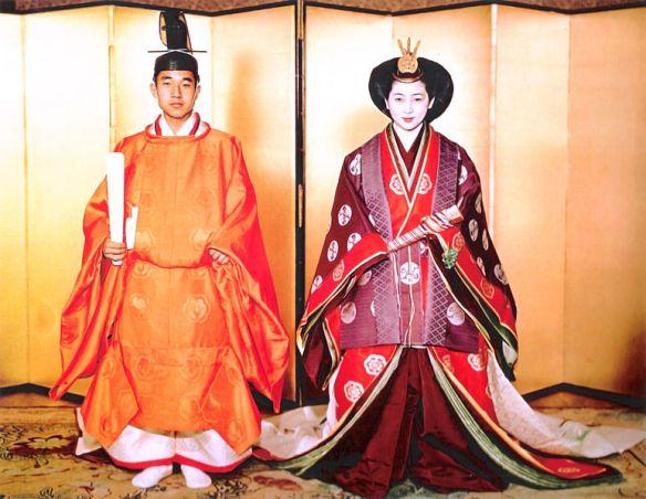 Crown Prince Akihito and Michiko Shoda on their wedding day in 1959.