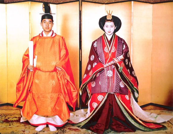 Crown Prince Akihito and Michiko Shoda on their wedding day in 1959.