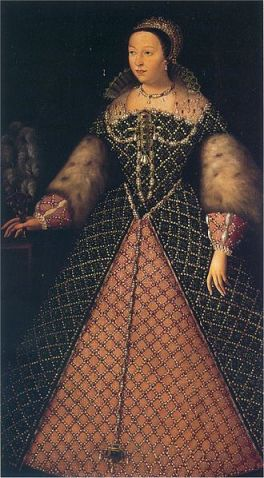 Catherine de Medici, niece of Lorenzo the Magnificent (of Medici). Painting: Unknown artist in the Uffizi Gallery via Wikicommons.