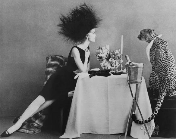 """Dining with a cheetah"" photo by Leombrumo-Bodi, Vogue 1960. Condé Nast via Tumblr."