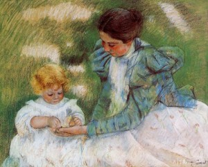"Mary Cassat. ""Mother Playing With Child."""