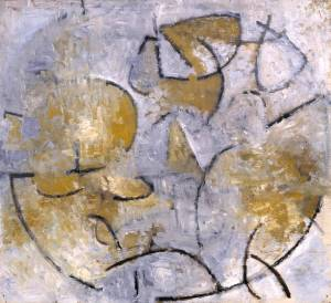 """Oval Motif in Grey and Ochre 1961"" by Wendy Pasmore at the Tate Museum, London."