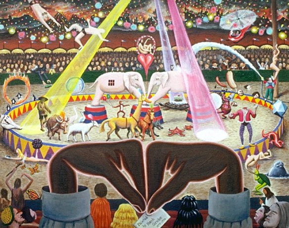 Surrealists' Circus. Painting by Hank Grebe, 1976
