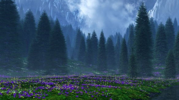 Forest at Sunset via download-free-flowers-wallpape-28963