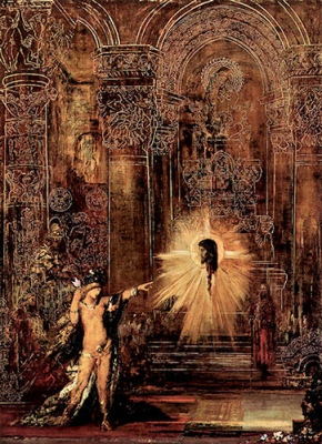 "Gustave Moreau - ""Die Erscheinung,"" or ""L'Apparition."" 1875. Part of Moreau's Salome series."