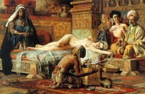 "Painting by Gyula Tornai (1861-1928): ""In the Harem."""