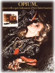 1977 Opium advert featuring Jerry Hall. Photo: Helmut Newton. Source: Vogue.com
