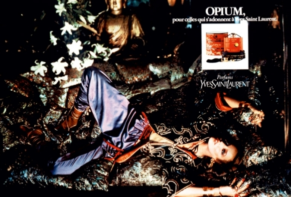Opium ad, 1977, featuring Jerry Hall. Photo: Helmut Newton. Source: Marieclaire.it