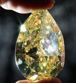 "The famous Cora ""Sun Drop"" yellow diamond. Source: www.people.com.cn"