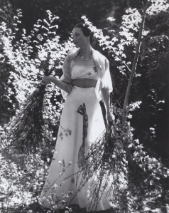 "The Duchess of Windsor wearing the famous ""Lobster Dress,"" designed by Elsa Elsa Schiaparelli and Salvador Dali."
