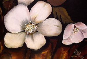 """Diane Millsap painting, """"White Floral I"""" via Ebsqart.com. (Link to retail page embedded within.)"""