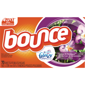 Bounce fabric softener and anti-lint dryer sheets.