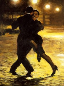 """""""Tango and Cobblestones"""",  painting by Aldo Luongo. Source: ipaintingsforsale.com"""