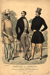 Victorian dandies. Men's fashion plate, 1848. Source: Wikipedia.