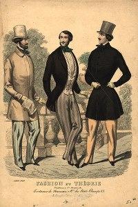 Victorian dandies. Men's fashion plate, 1848. Source: Wikipedia.