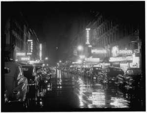 "Photo: ""52nd Street, New York, N.Y.,"" circa 1948, by William P. Gottlieb."