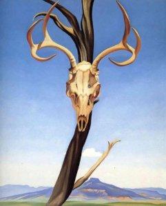 """Georgia O' Keeffe, """"Deers Skull with Pedernal"""" Source: wikipaintings.org"""