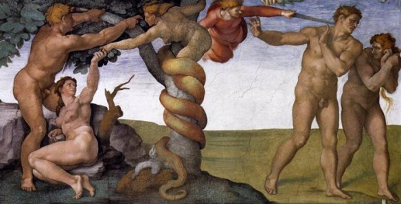 "Michelangelo,  ""The Temptation and Expulsion of Adam & Eve."""