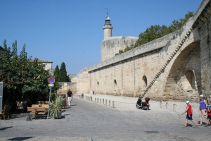 Aigues-Mortes city walls and rampart. We stayed in a little hotel down to  the right of the photo, past the greenery and café. Photo: Wikicommons