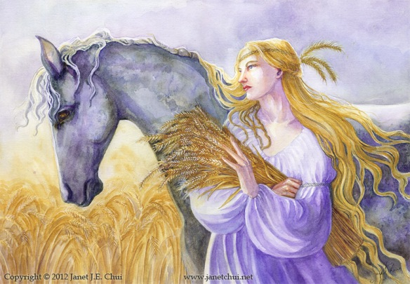 Epona, with her horse and her wheat. Created by Janet Chui. Source: janetchui.net