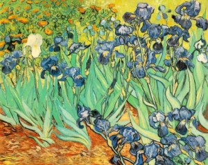 "Vincent Van Gogh, ""Irises"" (1889). Source: hdwallshub.com"