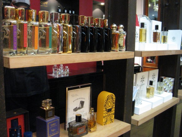 Parfums de Marly on the top shelf. Isabey on the bottom. Far right is Von Eusersdorff
