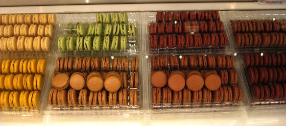 Some of the Ladurée macarons, with the green ones being pistachio if I remember properly and the light ones to the left having a passion fruit center.