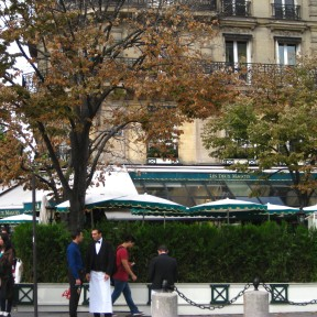 Les Deux Magots, diagonally opposite the St. Germain church.