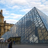 Where you'd line up for buy tickets to go into the Louvre.