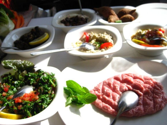 Some of the delicious mezze style Lebanese dishes.