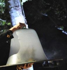 Adding a dry, smoked touch to food using a chef's cloche. Photo: my own.