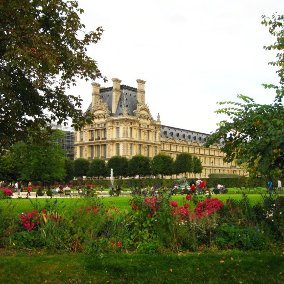 A view of the Louvre from the gardens.
