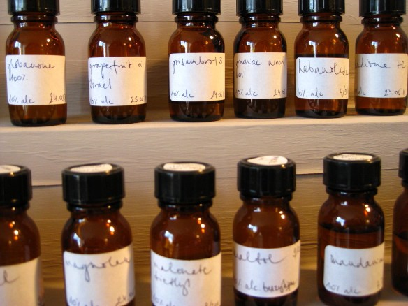 Perfume oils like grapefruit or guaiac wood.