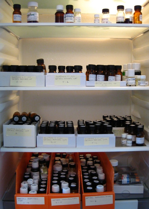A fridge filled with fragile perfume oils, or oils of the weakest strength and diluted in 1% alcohol.
