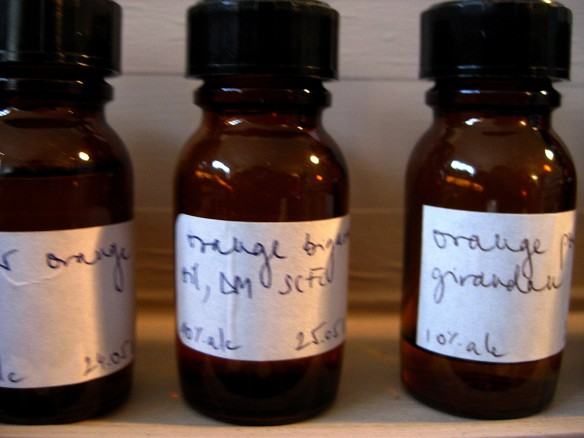 Perfume oils distilled in 10% alcohol. Here, you can see different sorts of orange oils like bigarade to other sorts.