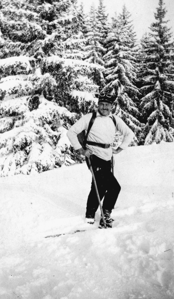"Ernest Hemingway in Switzerland, 1927. Source: Wikipedia entry for Hemingway's ""Fifty Grand."""
