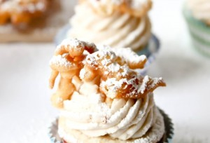 Funnel cake cupcakes. Source: confessionsofacookbookqueen.com (Website link embedded within photo.)