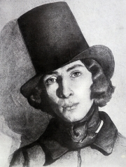 Portrait of George Sand in masculin attire, done in the 19th Century. Author unknown.