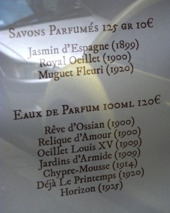 Oriza's list of perfumes with their original date of production.
