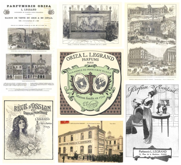 Composite of old Oriza photos and adverts, created by forevergreen.eu .  http://forevergreen.eu/a-fleur-de-peau/reliques-parfumees/
