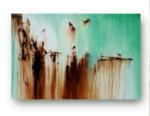 Abstract Mint Green and Chocolate Brown art on canvas by Heatherdaypaintings on Etsy. (Website link embedded within photo.)