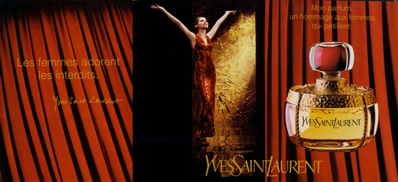 YSL Champagne ad showing the small, squat parfum bottle, not the EDT one. Source: ladies-with-bottle.blogspot.com
