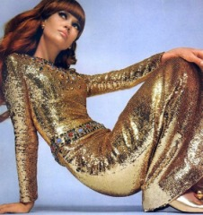 YSL vintage golden couture, 1967. Photo by David Bailey for Vogue. Source: Styliista.com