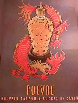 Vintage Caron ad for Poivre via The Perfume Shrine and originally, Bleekerstreet.com